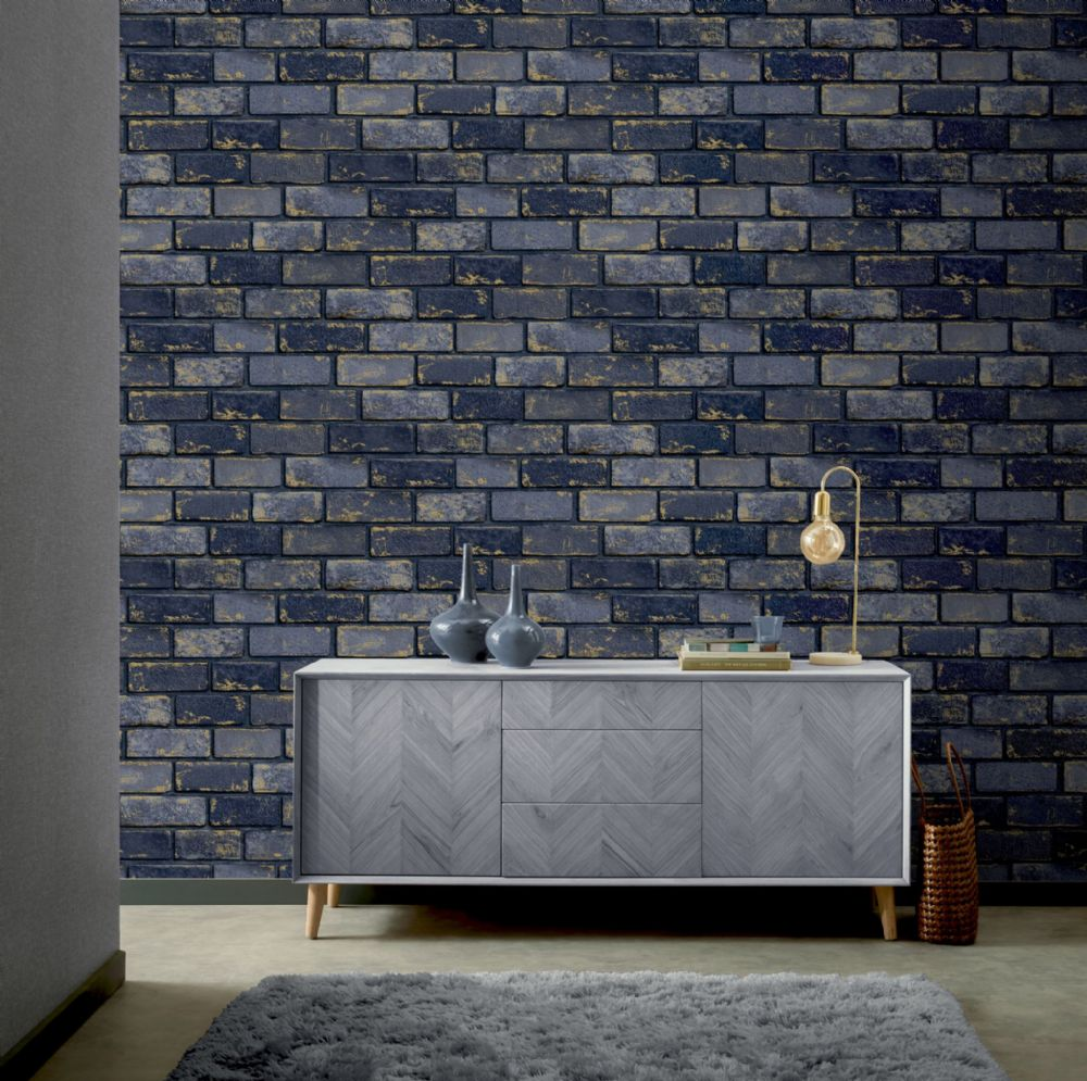 Arthouse Industrial Metallic Brick Blue 692200 Wallpaper